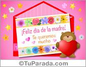 Tarjeta del día de la madre rosa y oso