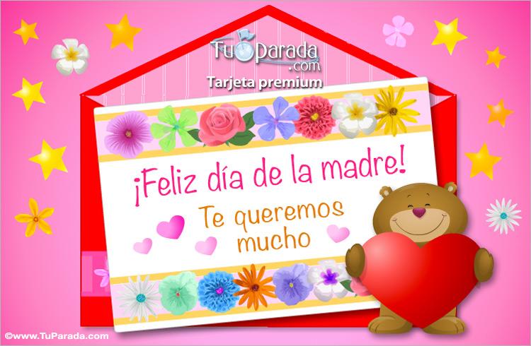 Tarjeta del día de la madre rosa y oso - Día de la madre, tarjetas