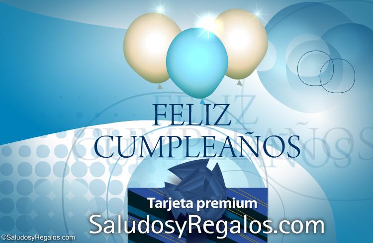 Tarjeta - Feliz cumpleaños con globos