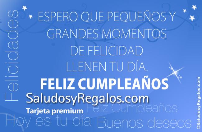 Tarjeta - Feliz cumpleaños azulino