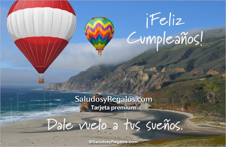 Tarjeta - Feliz cumpleaños con paisaje y globos