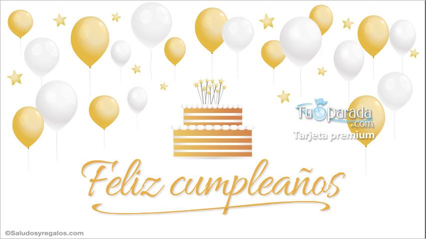 Tarjeta - Tarjeta de cumpleaños con torta y globos