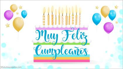 Tarjeta de feliz cumpleaños con torta grande