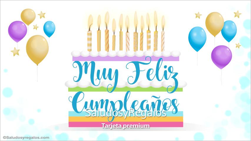 Tarjeta - Tarjeta de feliz cumpleaños con torta grande