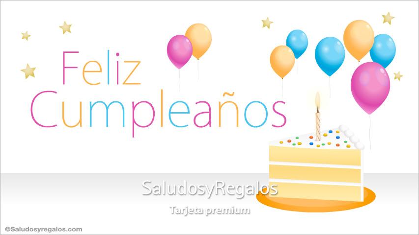 Tarjeta - Feliz cumpleaños con torta