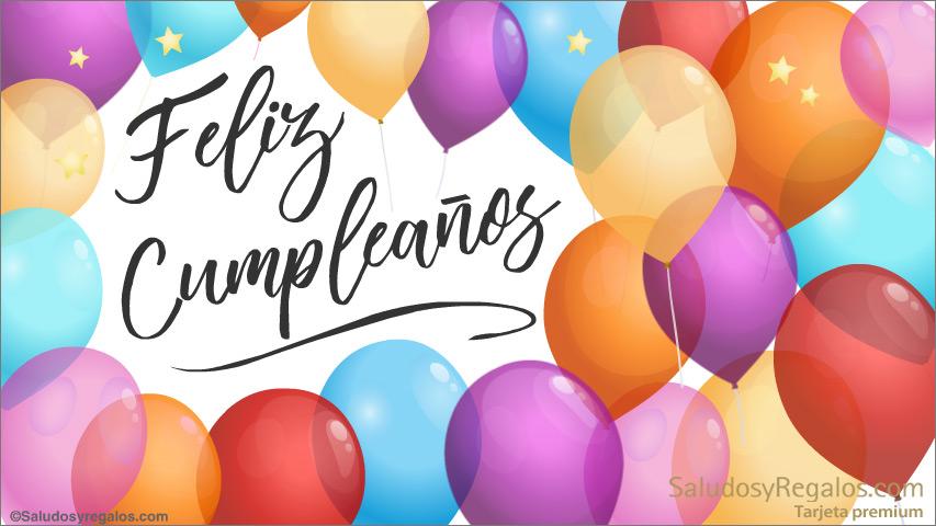 Tarjeta - Feliz cumpleaños con coloridos globos