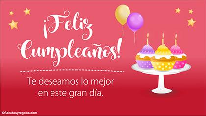 Feliz cumpleaños con cupcakes y buenos deseos