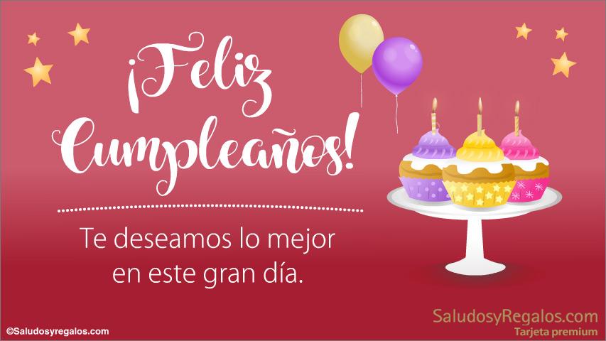 Tarjeta - Feliz cumpleaños con cupcakes y buenos deseos