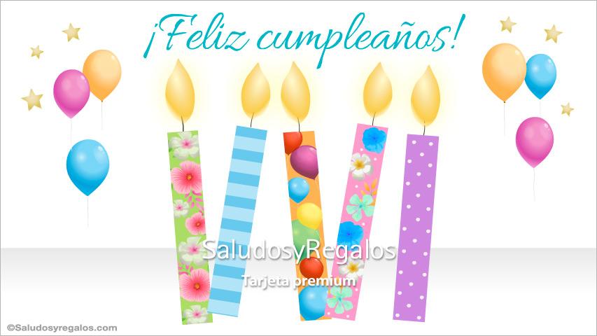 Tarjeta - Tarjeta con alegres velas de cumpleaños