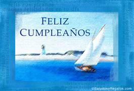 Feliz cumpleaños con barco y faro