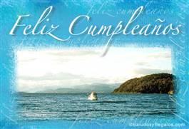 Feliz cumpleaños con paisaje y barco
