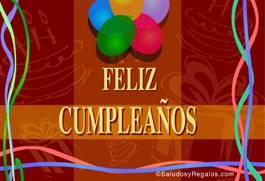 Feliz cumpleaños bordó con globos