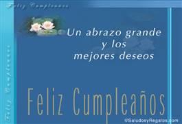 Feliz cumpleaños con flores y fondo azul
