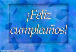 Feliz cumpleaños con hojas azules