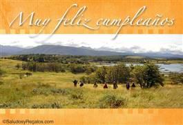 Muy feliz cumpleaños con paisaje