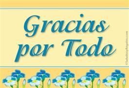Gracias con flores celestes