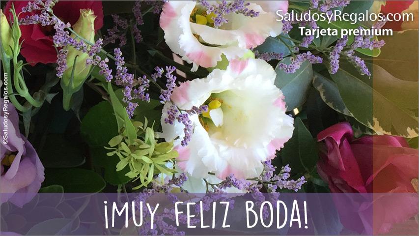 Tarjeta - Feliz Boda con flores