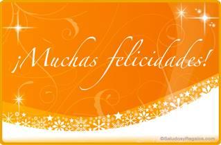 Muchas felicidades en naranja
