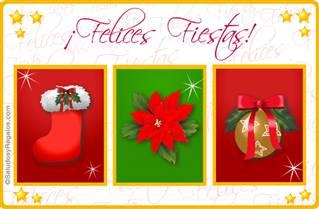 Tarjeta de Felices Fiestas con tres imágenes