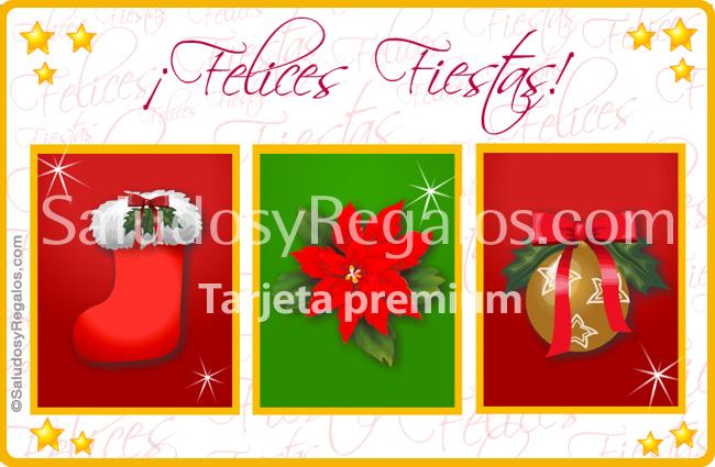 Tarjeta - Tarjeta de Felices Fiestas con tres imágenes