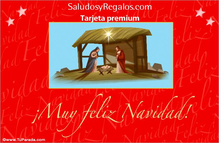 Tarjeta - Tarjeta con pesebre navideño y fondo colorado.