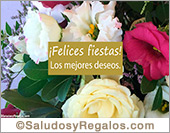 Felices fiestas con ramo de flores