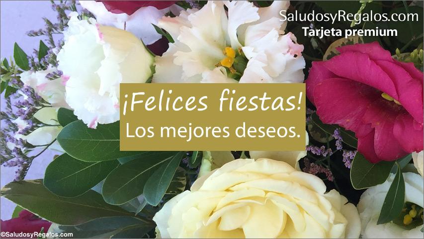 Tarjeta - Felices fiestas con ramo de flores