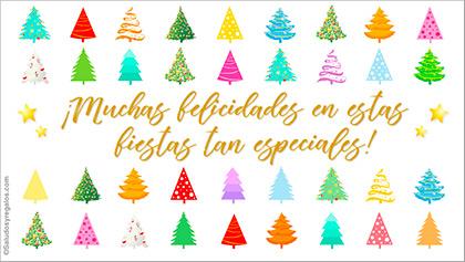 Muchas felicidades con árboles navideños