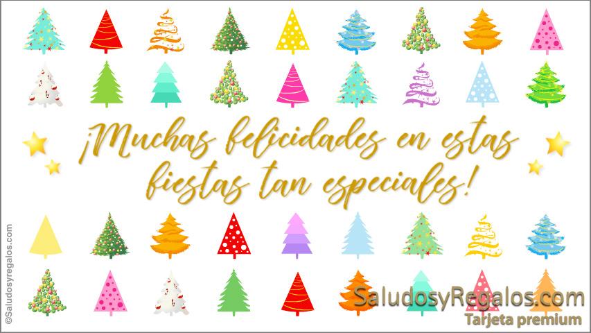 Tarjeta - Muchas felicidades con árboles navideños