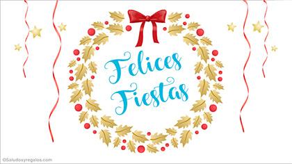 Felices fiestas con adorno navideño dorado