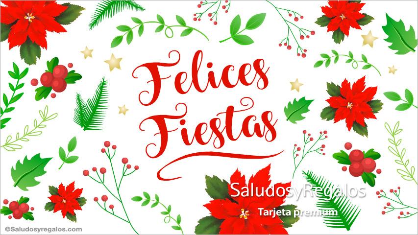 Tarjeta - Felices fiestas con flores navideñas