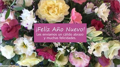 Feliz año nuevo con flores