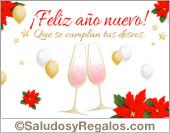 Tarjetas postales: Feliz año nuevo con brindis