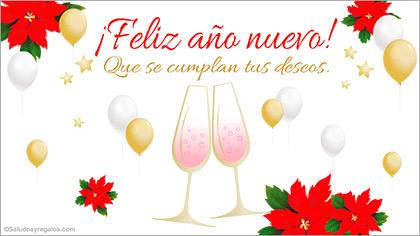 Feliz año nuevo con brindis