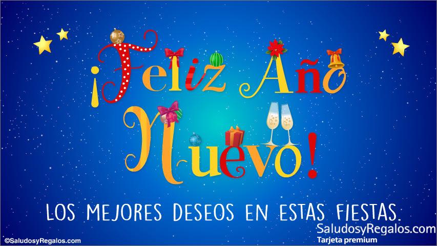 Tarjeta - Feliz año nuevo y los mejores deseos