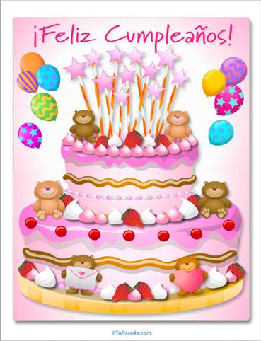 Imagen de feliz cumpleaños con torta rosa y ositos.