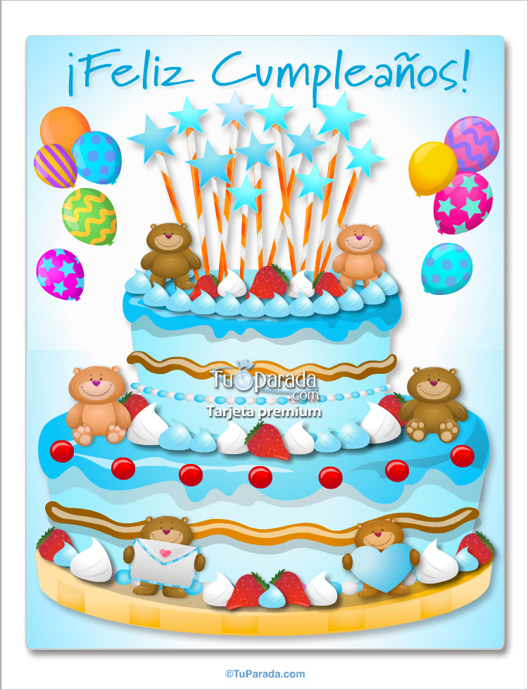 Tarjeta - Torta con ositos celeste