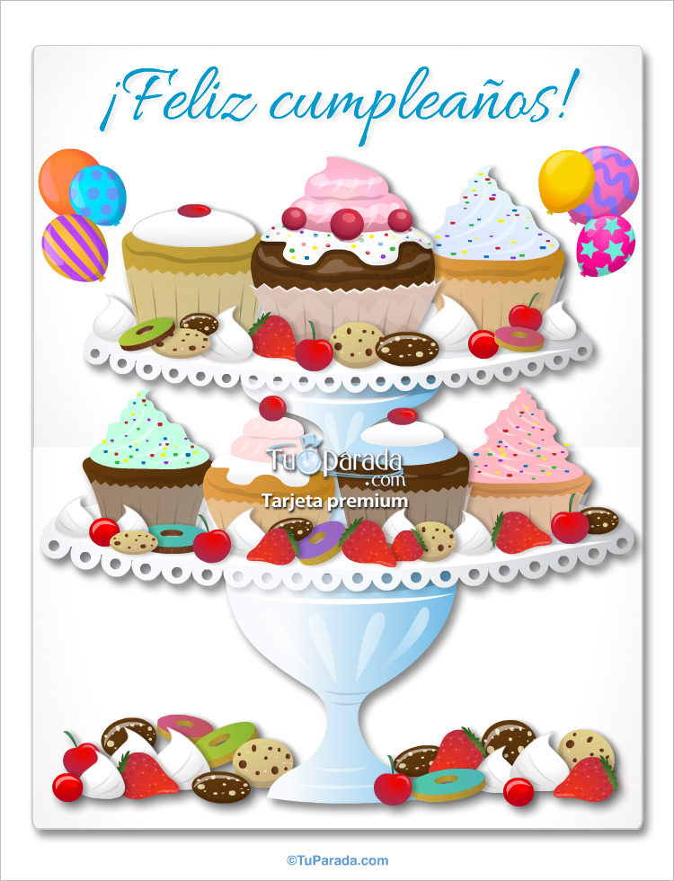 Tarjeta - Cupcakes de cumpleaños