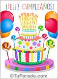 Imagen de torta de colores para desear feliz cumpleaños.