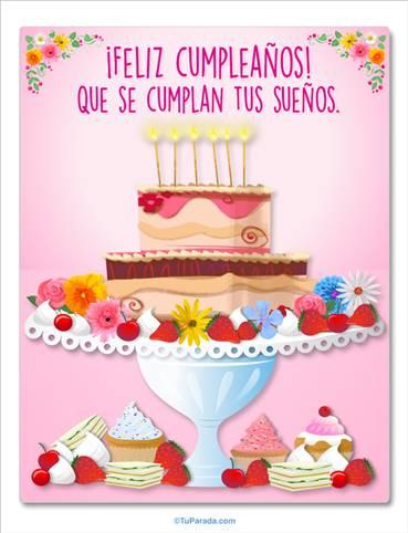 Tarjeta con torta en rosa