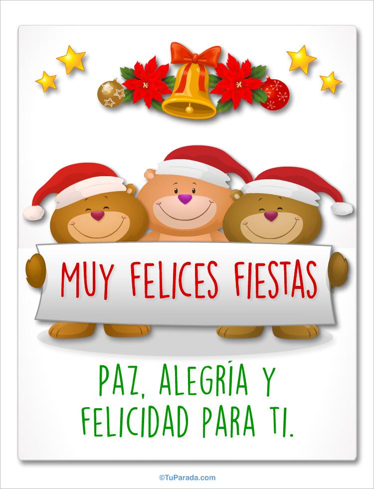 Tarjeta - Saludo navideño con osos