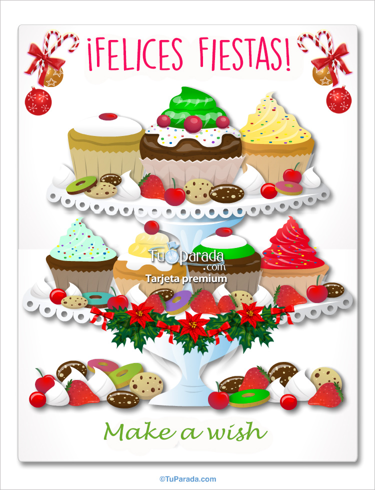 Tarjeta - Fiestas con cupcakes