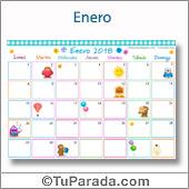 Calendario Multicolor - Enero 2018