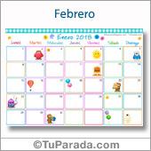 Calendario Multicolor - Febrero 2018