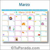 Calendario Multicolor - Marzo 2018
