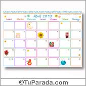 Calendario Multicolor - Abril 2018
