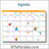 Calendario Multicolor - Agosto 2018