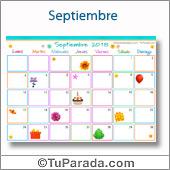 Calendario Multicolor - Septiembre 2018