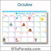 Calendario Multicolor - Octubre 2018