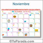 Calendario Multicolor - Noviembre 2018